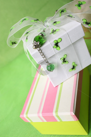 Striped Gift Box stock photo, Pink gift box and white box with ribbon and pin by Vanessa Van Rensburg