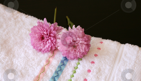 Plush Pink stock photo, Plush pink flowers on an embroided hand towel by Vanessa Van Rensburg