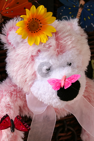 Butterfly on its nose stock photo, A pink teddy bear with a butterfly on its nose by Vanessa Van Rensburg