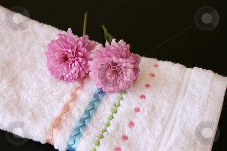 Hand Towel with pink stock photo, Embroided hand towel with plush pink flowers by Vanessa Van Rensburg