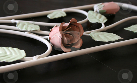 Wrought Iron stock photo, Wrought Iron frame with iron roses and leaves by Vanessa Van Rensburg