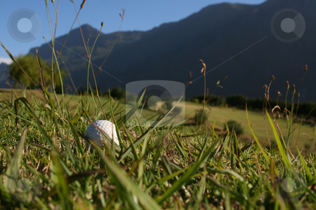 Golf Ball in Grass stock photo, Golf Ball on a golf course with a mountain range in the background by Vanessa Van Rensburg