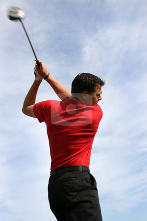 Young Golfer with Driver stock photo, Young golfer with a driver against a blue clouded sky by Vanessa Van Rensburg