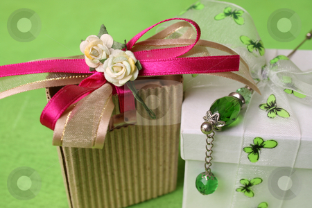 Gift Box and bag stock photo, White gift box and small brown gift bag with ribbons by Vanessa Van Rensburg