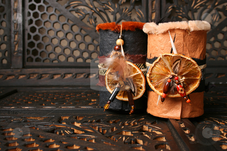 African Decor stock photo, Ethnic African decorated dream catchers made from leather by Vanessa Van Rensburg