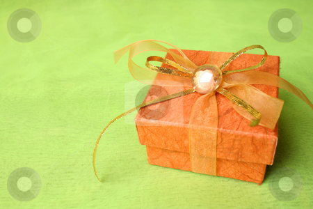 Brown Gift Box stock photo, Brown Gift box with gold and copper ribbon by Vanessa Van Rensburg