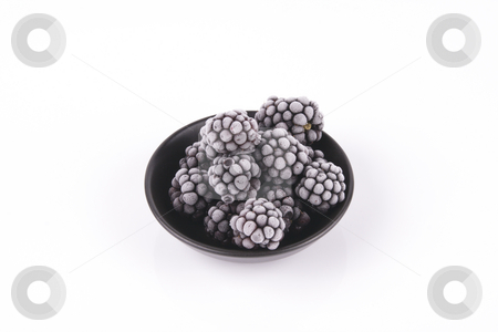 Frozen Blackberries in a Dish stock photo, Black ripe frozen blackberries in a small round black dish with a reflective white background by Keith Wilson
