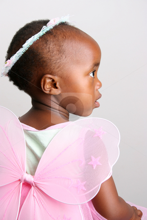 Pink Fairy stock photo, Toddler girl in a pink fairy costume with wings and head piece by Vanessa Van Rensburg