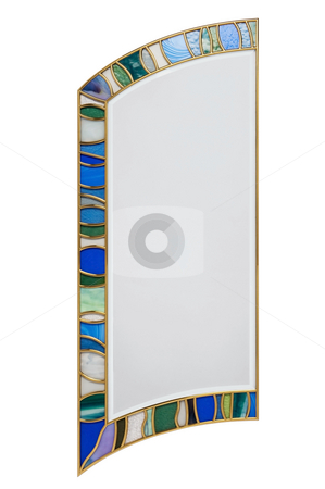 Stained-glass stock photo, Stained glass component isolated on white background by Roberts Ratuts