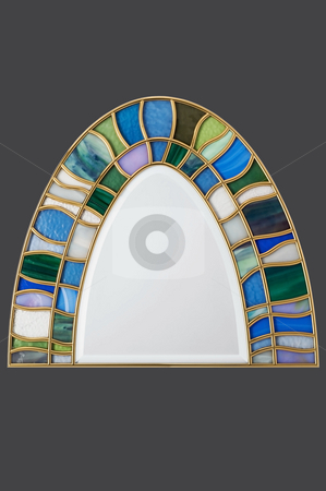 Stained-glass stock photo, Stained glass component isolated on grey background by Roberts Ratuts