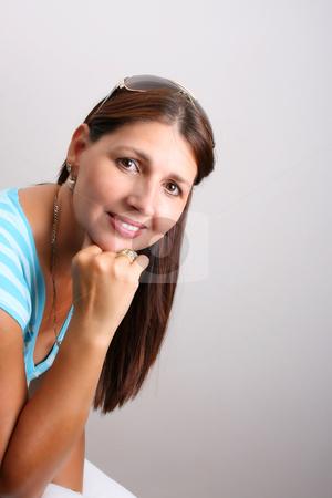Adult Model stock photo, Adult Female Model wearing a blue top by Vanessa Van Rensburg