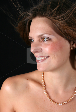 Beautiful Woman stock photo, Beautiful young woman with naked shoulders and pearls by Vanessa Van Rensburg