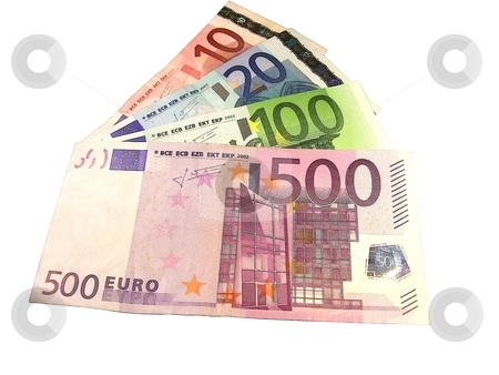 Euro banknotes stock photo, Euro banknotes of different denomination isolated on white by Sergey Gorodenskiy