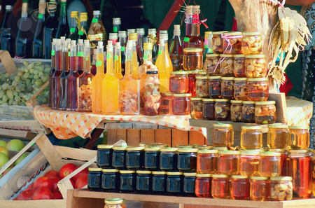 The various goods at the road markets stock photo,  by Matva Vladimir
