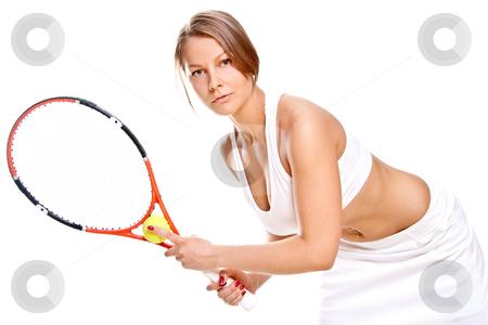 Beautiful girl with tennis racket stock photo, Beautiful girl with tennis racket on a white background by Artem Zamula