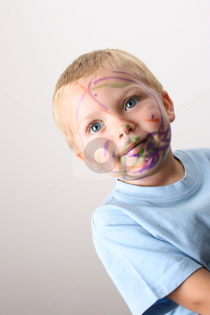 Messy Boy stock photo, Laughing Toddler playing with colored pens making a mess by Vanessa Van Rensburg