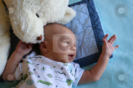 Touch stock photo, Week old baby boy on a blue blanket early in the morning by Vanessa Van Rensburg