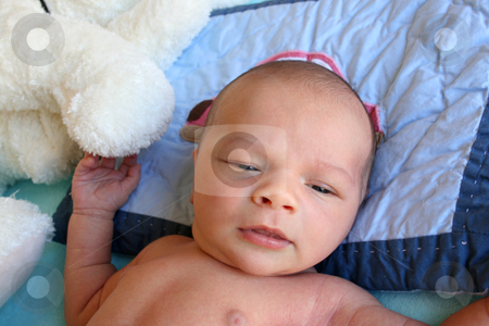 Purity stock photo, Week old baby boy on a blue blanket early in the morning by Vanessa Van Rensburg