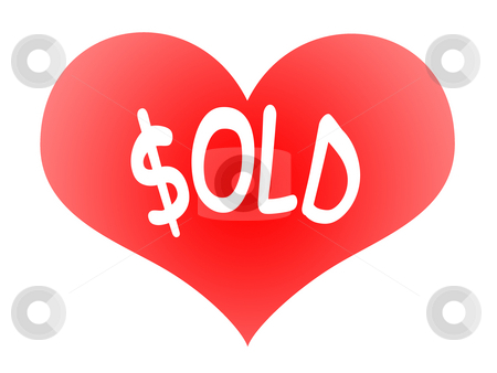 Heart Sold stock photo, Tender Red Heart Symbol with Sold Inscription by Skovoroda