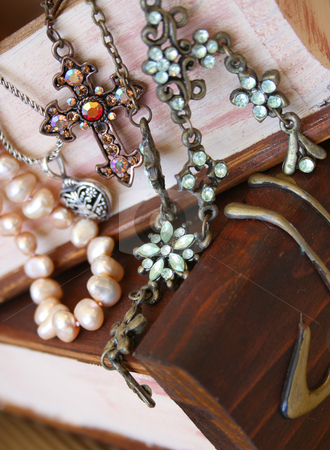 Jewellery Assortment stock photo, Assortment of varios pieces of Jewellery on a wooden jewellery box by Vanessa Van Rensburg