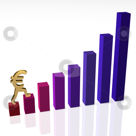 Euro Begins Long Climb Back to the Top stock photo, Gold euro sign climbing a bar chart, illustrating the beginning of a long climb to recovery. Can also illustrate the beginning of a return to profitability. by Mark Carrel