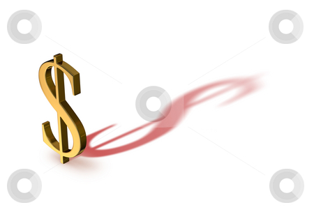 Dollar in the Red stock photo, A gold dollar sign casting a red shadow. by Mark Carrel