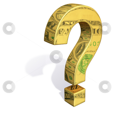 Questioning the Dollar stock photo, A gold question mark with images of dollar bills reflecting off it's surface. by Mark Carrel