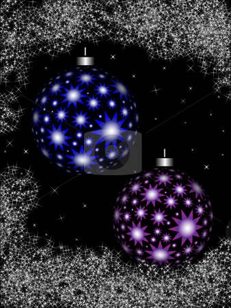 Christmas balls on the night sky stock photo, Christmas balls and ornaments on a black background by Alina Starchenko