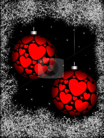 Christmas sphere with ornament stock photo, Christmas sphere with ornament in the form of hearts by Alina Starchenko