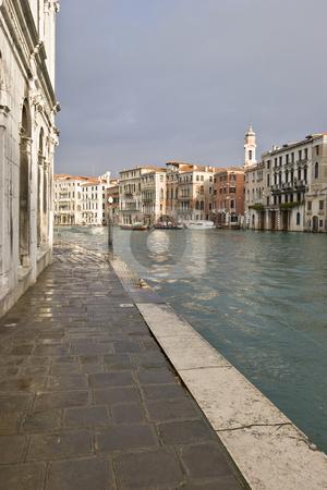 Grand Canal stock photo, Grand Canal near Rialto Bridge on a rainy day, Venice, Italy, Europe by mdphot