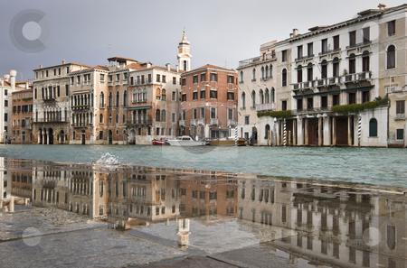 Reflection stock photo, Grand Canal near Rialto Bridge on a rainy day, Venice, Italy, Europe by mdphot