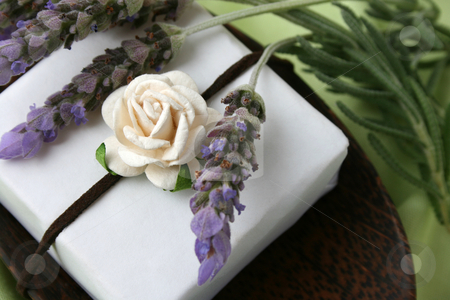 Soap Dish stock photo, Soap Dish with gift soap and fresh lavender by Vanessa Van Rensburg
