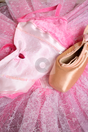 Ballet Costume stock photo, Pink Ballet costume and a used ballet shoe by Vanessa Van Rensburg