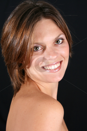 Beautiful Woman stock photo, Beautiful friendly young woman with naked shoulders by Vanessa Van Rensburg