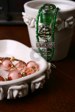 Jewelery stock photo, Beaded Jewelery set in ceramic pot and dish set by Vanessa Van Rensburg