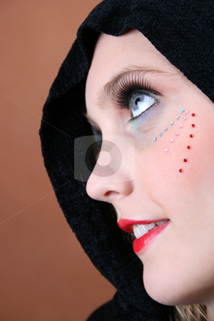 Traditional vs Modern stock photo, Female model with blue eyes wearing a scarf by Vanessa Van Rensburg