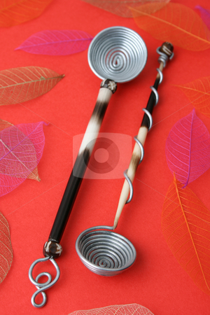 Spoons stock photo, Hand Made Quill spoons on a red background by Vanessa Van Rensburg