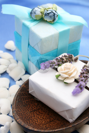 Soap Dish stock photo, Soap Dish with gift soap decorated with small roses by Vanessa Van Rensburg