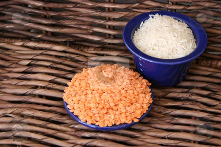 Rice & Lentils stock photo, Rice and lentils in blue ceramic bowls by Vanessa Van Rensburg