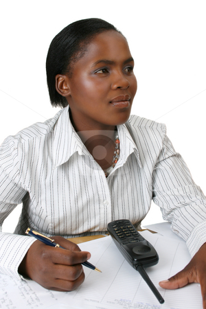 Businesswoman stock photo, Business woman in thought holding a pen in her hand by Vanessa Van Rensburg