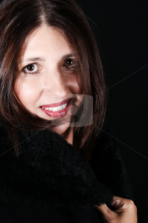 Adult Model stock photo, Beautiful brunette female model against a dark background by Vanessa Van Rensburg