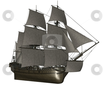 Sailboat stock photo, 3D redered sailboat rendered on white background isolated by Patrik Ruzic