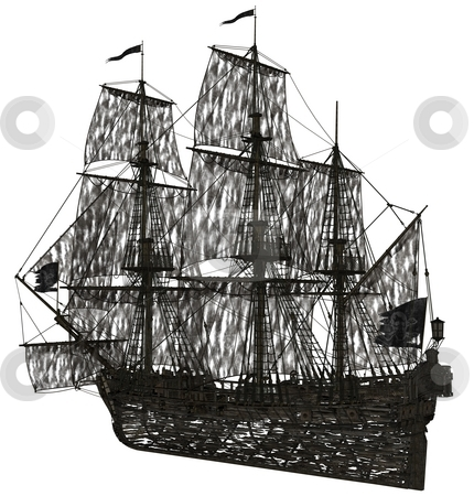 Ghost sailboat stock photo, 3D redered ghost sailboat rendered on white background isolated by Patrik Ruzic