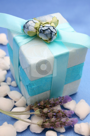 Soapy Gifts stock photo, Soap gifts in wrapped in blue with white bath crystals by Vanessa Van Rensburg