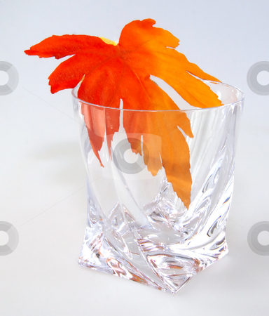 Maple leaf in a glass stock photo, Crystal glass with maple leaf on white background by Fabio Alcini