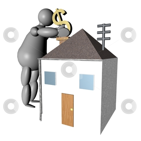 3D puppet putting dollars in the house stock photo, 3D puppet putting dollars in the house by Fabio Alcini