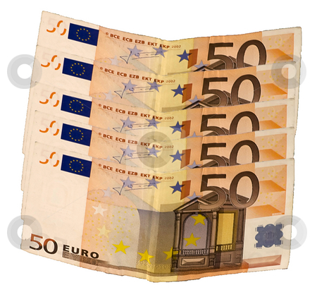 Fifty euros stock photo, Five banknotes of fifty euros on white background by Fabio Alcini