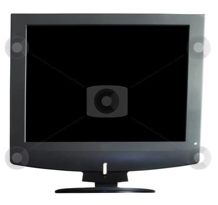 Tv stock photo, Black screen tv over a white background by Fabio Alcini