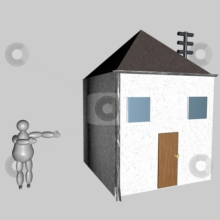 3D puppet showing his house stock photo, 3D puppet showing his house, over gray background by Fabio Alcini