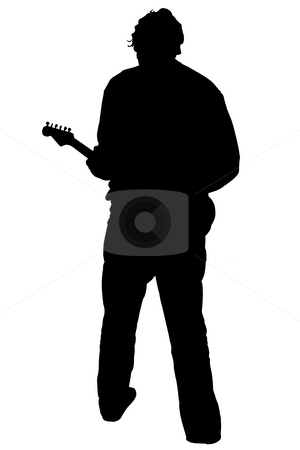 Silhouette of guitar player stock photo, Black silhouette of a playing guitarist, on white background by Fabio Alcini